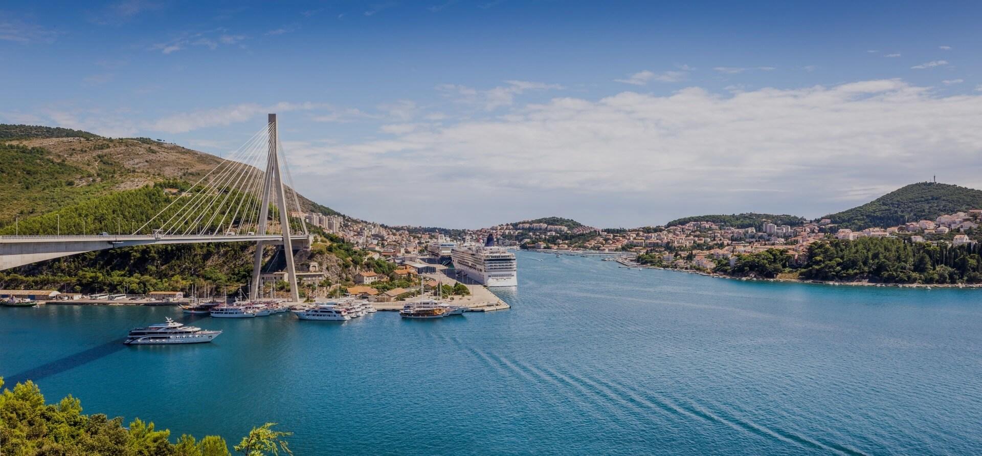 panorama of impressive frano tudman bridge dubrovnik